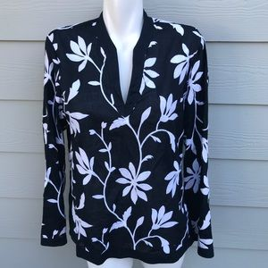 Talbots Embroidered Floral Long Sleeve Blouse